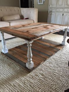 Love this table....farmstyle coffee table made out of boards and spindle legs