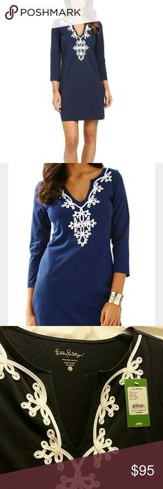 """NWT Lilly Pulitzer Marina 3/4 Sleeve Dress Gorgeous, brand new w/ tags, navy blue Lilly Pulitzer Marina 3/4 length sleeve dress, made of 100% pima cotton so it's super soft. I love love love this dress and it is so very flattering and hides any extra tummy weight, but unfortunately it's just an inch too short for my personal taste (I'm 5'9"""" with a long torso) and I'm self-conscious about my thighs... it was final sale so I can't return, but my loss is your gain! See pic 4- this dress is no…"""
