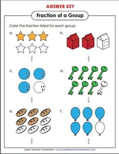 best science  super teacher worksheets images  teacher  color in the number of objects to correctly represent the given fraction  printable math worksheets