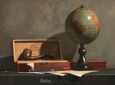 "Painting of the Day (AVAILABLE) Todd M. Casey's ""Globe with Pipe"" - http://rehs.com/blog/2015/07/painting-of-the-day-available-todd-m-caseys-globe-with-pipe/"