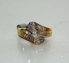 14 Karat Yellow Gold Scissor Style Diamond Marquis Engagement Ring