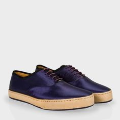 Paul Smith Men's Shoes | Navy Satin And Leather Rick Trainers
