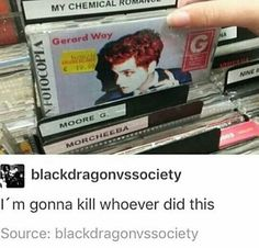 This happened to me today! I was in a record shop looking for the black parade so I went to mcr section and pulled out the first record and it was hesitant alien. I swear I was so SADDD