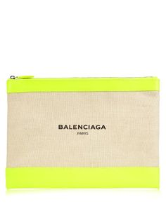 Balenciaga Canvas and leather pouch