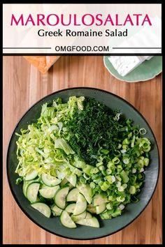Maroulosalata | omgfood.com Greek Recipes, Real Food Recipes, Cooking Recipes, Yummy Recipes, Dessert Recipes, Savoury Recipes, Side Salad Recipes, Romaine Salad, Greek Salad