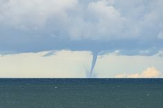 A rare waterspout on Lake Superior during a mid-October storm. Whitefish Point, Upper Peninsula, Lake Superior, Nature Photos, Michigan, Cathedral, Clouds, Beach, Water