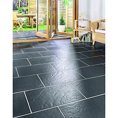 Wickes Riga Black Matt slate effect porcelain floor tile 300x600mm  £20.49 per SQM Apparently good with underfloor heating