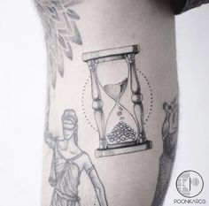 Dotwork hourglass tattoo by Karry Ka-Ying Poon