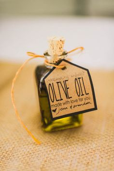 Homemade olive oil as party favor | Clarkie Photography