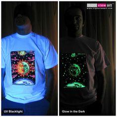 """Magic Sunmoon"" UV-Blacklight Fluorescent & Glow-In-The-Dark Phosphorescent Psychedelic Art Mens T-shirt, £20 in Tripleview Art Web Shop.  #psychedelic #psy #trance #psytrance #goatrance #rave #trippy #hippie #esoteric #mystic #spiritual #visionary #symbolism #UV #blacklight #fluorescent #fluoro #fluo #neon #glow #glowinthedark #phosphorescent #luminescent #art #tshirt #sunandmoon #sunmoon #kiss #yinyang #aum #om"