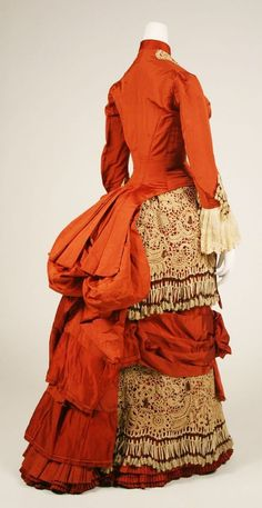 Dress, ca. 1880, American, silk, cotton, glass, Metropolitan Museum of Art, 1982.219.2a, b
