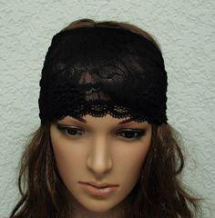 Black lace headband, stretchy hair wrap, retro style head scarf, lace hair band, boho headband,  infinity headband, wide headband by accessoriesbyrita on Etsy