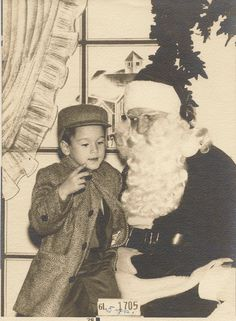 1950s santa claus snapshots | ... Santa Claus and Boy in frame 1940's 1950's Vintage Collectable
