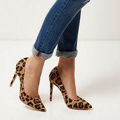 new style 6f75b 889d8 Escarpins en cuir imprimé léopard marron - Escarpins - Chaussures bottes -  femme