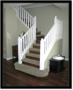 Carpet Treads, Laminate Risers. Safer And Easier On The Joints!