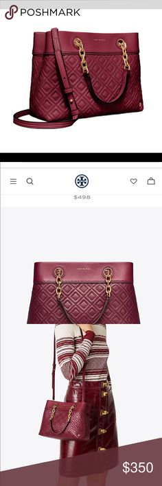 NWT Tory Burch: Small Fleming Tote in Garnet New with Tags! *Color: Imperial Garnet *Dust bag included *Still wrapped to protect chains *Can be used as a small tote or use long strap included to use as a crossbody bag *See Photos for product details & measurements *Last 2 Photos are of the bag I own *New on toryburch.com selling for $498 Tory Burch Bags Crossbody Bags