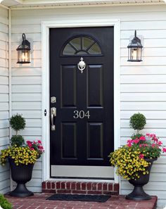 Silver hardware on a dark colored door. Also like the house number placement. The white window frame is painted consistent with the door.