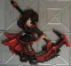 Perler of Ruby from RWBY One more to go to finish team RWBY! How do you think she came out? (: As a reference I used a sprite made bywanderingstreetwhich can be foundHere. It took...