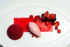 Red Velvet: Cream Cheese Parfait, Red Currant, and Roasted Strawberry Ice Cream