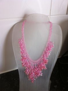 Necklace. Pink & white seed beads, with semi-precious stones.