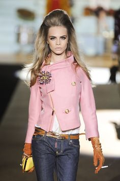 jeans, pink jacket, large broach,  Cara Delevingne at DSquared2 FW12 fashion show