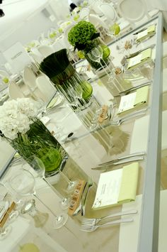 Modern green and white table scape