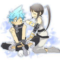 Black Star and Tsubaki. ( Soul Eater )