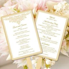 Wedding Program Fan Anna Maria Champagne