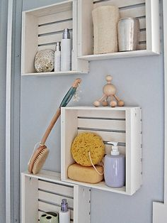 Small bathroom? Need additional space? Small white crates!