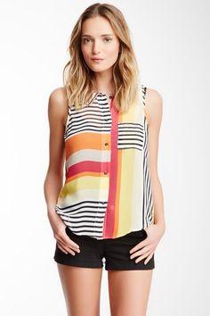 Kaya Di Koko Multi-Stripe Sleeveless Shirt on HauteLook