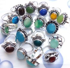 New Wholesale Lot 50 PCs Mix Shape,Mix Gemstone 925 Sterling Silver Plated Rings #Gajrajgems92_9 #Rings