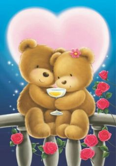 by Florynda del Sol ღ☀¨✿ ¸.ღ ♡♥♡Happy Valentine's day! Love You Gif, Love You Images, Cute Images, Cute Pictures, Teddy Bear Images, Teddy Bear Pictures, Bear Wallpaper, Love Wallpaper, Bear Valentines