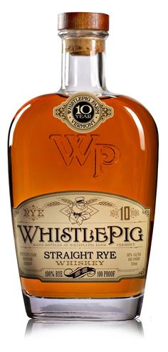 A whistle-pig is another name for a groundhog. This rye whiskey from Vermont is a rare 100% rye, aged for 10 years and bottled at 100 proof. Crafted by Dave Pickerell, this rye is characteristically spicy, with pepper and ginger notes laced atop a moderately sweet core. Nicely balanced, the elements are all in harmony, though spice is always at the forefront. The finish offers notes of coal, reminding you this is not a vanilla-scented Bourbon but rather a rye.