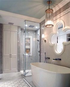 Dreaming of an extra or designer master bathroom? We have gathered together plenty of gorgeous bathroom tips for small or large budgets, including baths, showers, sinks and basins, plus master bathroom decor some ideas. All White Bathroom, Modern Bathroom, Small Bathroom, Marble Bathrooms, Beautiful Bathrooms, White Bathrooms, Bathroom Bath, Bath Room, Bathroom Island