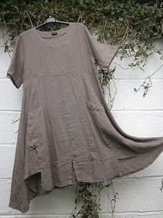 "ITALIAN LINEN DRESS BIG POCKETS QUIRKY HEM 42"" rRED MOCHA BNWT LAGENLOOK ETHNIC 