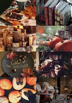 Pumpkins, autumn leaves changing colors, fire in the fireplace. Apple cider under a plaid blanket. Fall inspiration and photo ideas. Things to do during fall.
