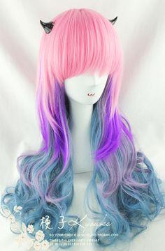 Kyouko Pelucas / peluca de Accesorios harajuku / lolita reina Polvo de colores / azul / el humo púrpura / Oscuro arco iris de colores verde gradie ...