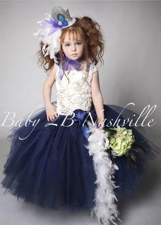 Navy Wedding Flower Girl Dress Vintage Flower by Baby2BNashville,