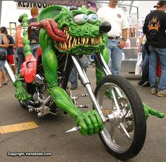 Fascinating Motorcycles - awesome motorcycles, amazing motorcycles - Oddee This custom bike looks like of like the Rat Fink bike. By Ed RothThis custom bike looks like of like the Rat Fink bike. By Ed Roth Cool Motorcycles, Harley Davidson Motorcycles, Custom Bikes, Custom Cars, Rat Fink, Kart, Hot Bikes, Motorcycle Bike, Motorcycle Rallies