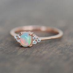 Zierlicher Ring, Ring Set, Opal Wedding Rings, Opal Engagement Rings, Engagement Rings Minimalist, Engagement Tips, Rose Wedding, Wedding Band, Ring Rosegold