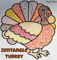 make a zentangle turkey - or even a texture turkey - Thanksgiving art project for kids