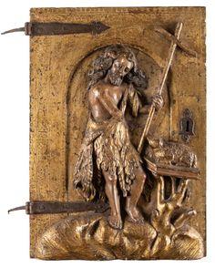 TÜR EINES TABERNAKELSCHRANKS MIT JOHANNES DEM TÄUFER Sp — Skulpturen, Plastiken, Installationen, Bronzen, Relief