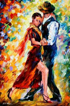 Romantic tango  PALETTE KNIFE1 Oil Painting On door AfremovArtStudio, $249.00