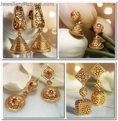 Antique Earrings - Page 6 of 7 Latest Indian Jewelry - Jewellery Designs Gold Earrings Designs, Gold Jewellery Design, Jhumka Designs, Gold Designs, Necklace Designs, Antique Wedding Rings, Antique Engagement Rings, Bijoux En Or Simple, Wholesale Gold Jewelry