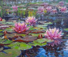 Barbara Jaskiewicz - Water Lilies, Painting For Sale atView this item and discover similar landscape paintings for sale at - In this painting, Jaskiewicz creates a lovely water lily scene, full of vibrant color and movement. The pink water lilies off Water Lilies Painting, Lily Painting, Painting & Drawing, Painting Lessons, Knife Painting, Art Paintings, Landscape Paintings, Watercolor Paintings, Watercolor Artists