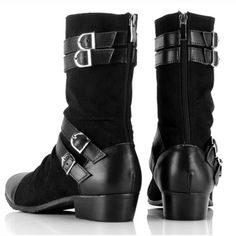 Cool Mens Black Leather Goth Fashion Style Cowboy Dress Boots Casual SKU-1280059