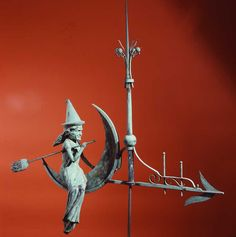 Witch Riding the Crescent Moon Weathervane