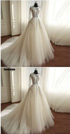 CloverBridal free customize vintage lace long sleeve 2017 wedding dress  buttons back flowing tulle long train vestido de noiva 6aaeeb91072e