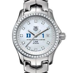 "Duke University Women's TAG Heuer Link Watch with Diamond Bezel - Champs by TAG Heuer. $5195.00. Officially licensed by Duke University. TAG Heuer international two-year warranty. Unique TAG Heuer presentation box.. Swiss-made Quartz movement.. Authentic TAG Heuer watch only at M.LaHart & Co.. Duke University TAG Heuer women's Link watch with Duke ""D"" logo and ""1"" in blue on the brilliant diamond dial; ""2010 NCAA Basketball Champions"" is written underneath.Sparkling pol..."