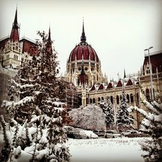 Snowy Parliament - Budapest, Hungary